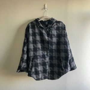 Plaid Poncho Jacket